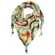 Jimena trojúhelníkový šátek s potiskem smetanová