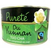 Thé vert bio Tuo Cha Pureté du Yunnan Jardins de Gaïa boîte 100 g