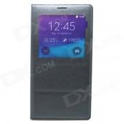 Protective Flip Open PU cuero + PC caso cubierta w / Window para Samsung Galaxy Nota 4 - Negro