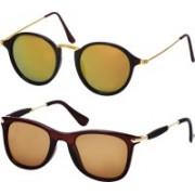 Freny Exim Wayfarer, Round Sunglasses(Golden, Brown)