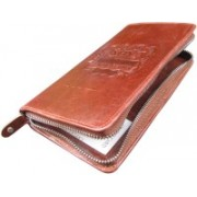 ABYS Genuine Leather Passport Wallet||Travel Organizer||Card Case with Metallic Zip Closure for Men & Women(Maroon)