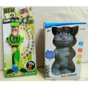Play Design Touching Tom & BEN10 Projector Watch (24 Images) (Multi-Colour) Combo Pack