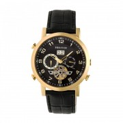 Heritor Automatic Edmond Leather-Band Watch w/Date - Gold/Black HERHR6204