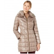 Kenneth Cole New York Zip Front Quilted Puffer w Faux Fur Trimmed Collar Thistle