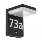 Aplica cu LED integrat Amarosi 11W 1200 lumeni, cu senzor, pentru exterior IP44, incl. numere autocolante, negru