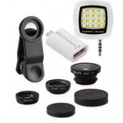 Edee Combo of Universal Mobile Camera Lens Kit LED Selfie Flash Light and OTG Smart Kit