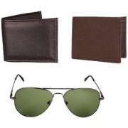 Stylish- Green Aviator Sunglasses Brown And Black Wallets