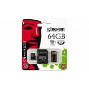 Memóriakártya, Micro SDXC, 64GB, Class 10, SD+USB adapterrel, KINGSTON (MKMS64GHMK)