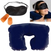 3 In 1 Travel Neck PIllow Eye Shade Mask Ear Plugs Suitable For Train Bus Flight Car
