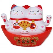 We pay your sales tax White Beckoning Fortune Happy Lucky Cats Maneki Neko Solar Toy Home Decor Gift