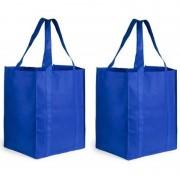 Merkloos 2x Boodschappen tas/shopper blauw 38 cm