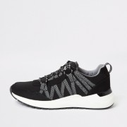 River Island Mens Black lace-up runner trainers (10)