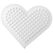 Pärlplatta hjärta 8,5cm vit