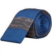Dapper Homme Self Design Blue Color Polyester Tie For Mens