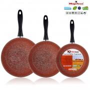Magefesa Toscana Terracota - Set Juego 3 Sartenes 20-24-28 cm, inducción, antiadherente GRANITO libre de PFOA