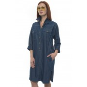 Blue Les Copains Abito in cotone chemisier Denim medio Cotone Donna