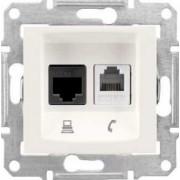 SEDNA Telefon + adat aljzat Utp Cat.5E Rj11+Rj45 IP20 Krém SDN5100123 - Schneider Electric