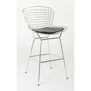Replica Harry Bertoia Wire Bar Stool - 61cm - Chrome - various colour cushions