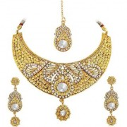 Spargz Antique Wedding Wear Gold Plated AD Stone Bridal Choker Necklace Set With Maang Tikka For Women AINS 248