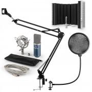 Auna MIC-900BL USB, микрофонен комплект V5, кондензаторен микрофон, pop filter, стойка за микрофон, параван, син цвят (60001968-V5)