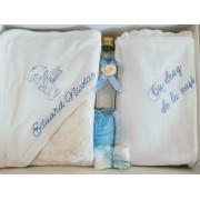 Trusou botez bleu 7 piese personalizat cu numele copilului
