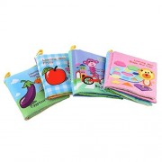 Yeahibaby 4pcs Baby Soft Cloth Book Non-Toxic Fabric Educational Books with Rustling Sound Crinkle B