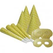 Party csomag, sárga, pöttyös, 12 db/cs
