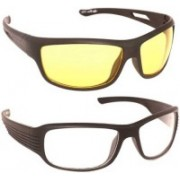 I KING Wrap-around Sunglasses(Yellow, Clear)