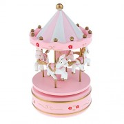 Magideal Wooden Wind Up Music Box Kids Educational Creative Spin Up Horse Musical Toy Gift Pink