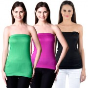 NumBrave Womens Green Purple Black Tube Top (Combo of 3)