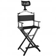 BeautyLushh Make-Up összecsukható sminkes szék levehető fejtámlával, fekete