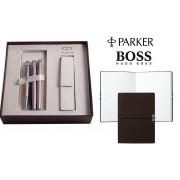 Set Cadou Parker Writing Set for Women si Note Pad Burgundy Hugo Boss