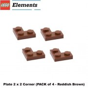 Lego Parts: Plate 2 x 2 Corner (PACK of 4 - Reddish Brown)