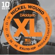D'Addario EXL110-10P Nickel Wound Regular Light 10 Sets