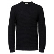 SELECTED HOMME Pulover bărbătesc SLHROLF STRUCTURE CREW NECK W Black M