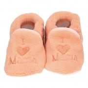 Babyslofjes Baby pantoffels/slofjes love mama zalmroze