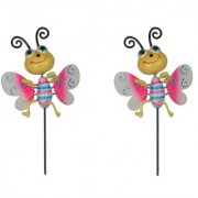 Wonderland (SET of 2) Plastic animated Butterfly Stake in pink(10 x 5 x 66 cm)