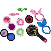 Beauty Girls Hair Stylist Kit With Colorful Hair Chalks, Brush With Mirror, Hair Clips, Pony Rubbers
