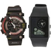 S-Shock Black Combo Neon Illuminetor and Analog-Digital Sports Watch - AD006+AD002