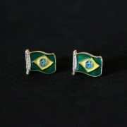 Earring Gold Plated Jewelry Semi Flag of Brazil