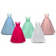 Hangzhou Yuxi Trade Co. Ltd (t/a PinkPree) £19 instead of £39.99 for a pink, blue, green, white or rose red girls ball gown princess dress, choose five sizes from Pink Pree - save 52%