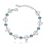 Kék kristályos halacskás karkötő