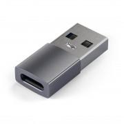 Satechi USB Male To USB-C Female Adapter - адаптер от USB мъжко към USB-C женско за мобилни устройства (тъмносив)
