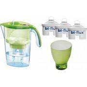 Pachet Laica Cana de filtrare a apei Stream 2.3 L Verde + 3 Filtre Bi-flux + Pahar de colectie