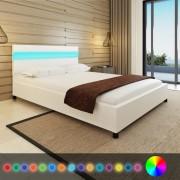 vidaXL Pat cu LED-uri 140 x 200 cm, piele artificială, alb