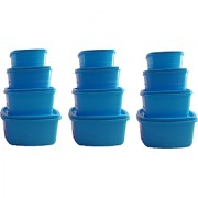 Airtight Plastic Food Storage Containers Set of 12 PCS (1350 ml 750 ml 500 ml 250 ml) Blue