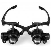 10x 15x 20x 25x Doble Lente Gafas Lupa De Joyero Reloj Reparacion Cabeza Con 2 Luces LED (negro)
