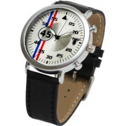 Traktime Speed Master Round Dial Analogue Wrist Watch for Men with Black Leather Strap