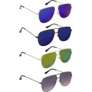 NuVew Retro Square Sunglasses(Blue, Blue, Golden, Green, Grey)