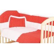 Lenjerie patut, 5 piese, rosu cu buline albe, 120x60 cm